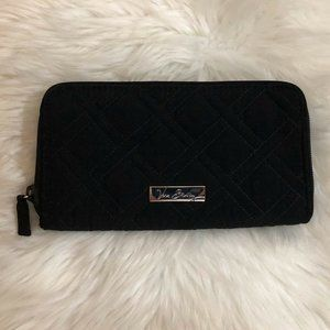 Vera Bradley Wallet Black Quilted Accordion Zip